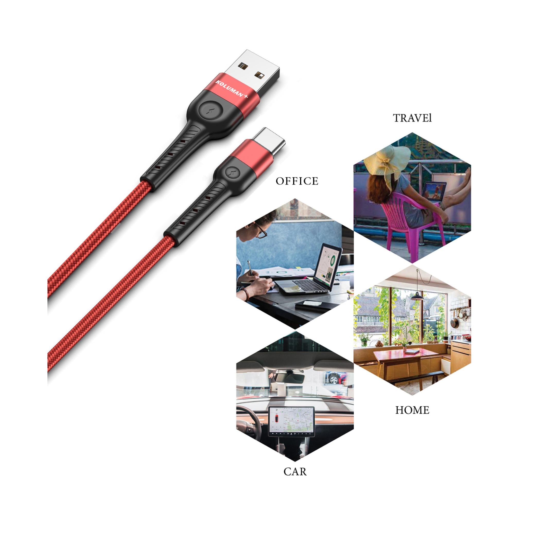 کابل تبدیل USB به USB-C کلومن پلاس مدل K7+